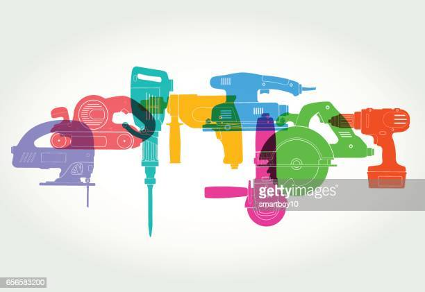 power tools - power tool stock illustrations, clip art, cartoons, & icons