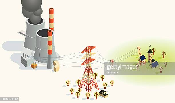 power transfer - nuclear energy stock illustrations