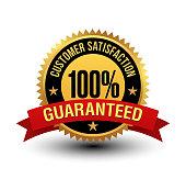 Powerful 100% customer satisfaction guaranteed badge with red ribbon.