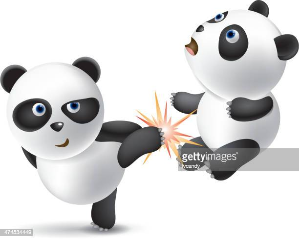 powerful panda - martial arts stock illustrations