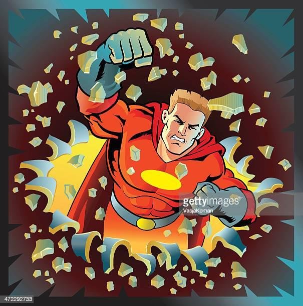 illustrations, cliparts, dessins animés et icônes de puissant super héros les pauses en métal - courage