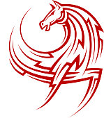 Powerful tribal red horse