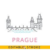 Prague, Charles Bridge, Czech. Easy editable stroke thin line icon.