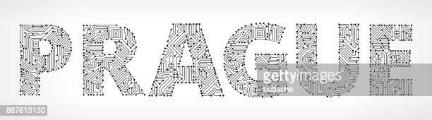 prague circuit board vector buttons - prague stock illustrations, clip art, cartoons, & icons