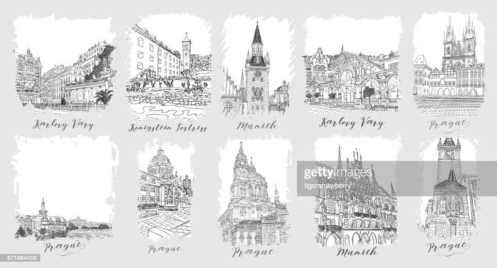 Prague. Karlovy Vary. Munich. Set of creative artistic invitations and collectible chocolate packaging. Hand drawn ink vacation and travel invite cards or flyers with calligraphic city writing.