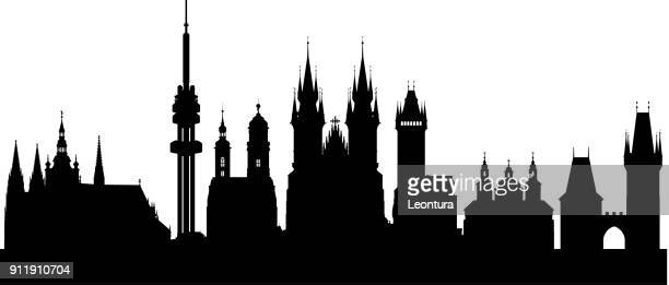 prague (all buildings are moveable and complete) - prague stock illustrations, clip art, cartoons, & icons