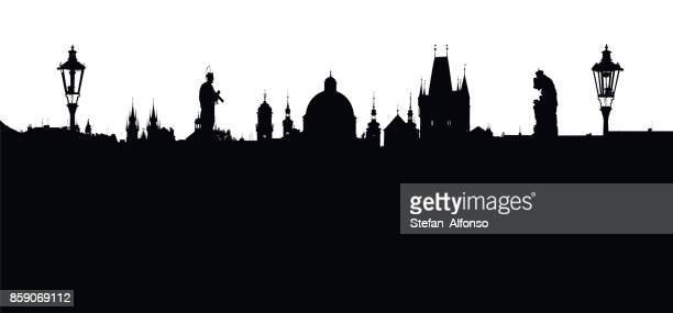 Prague vector sky line