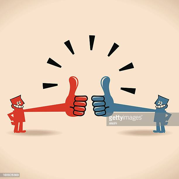 praise each other, two business people with thumbs up gesture - applauding stock illustrations, clip art, cartoons, & icons