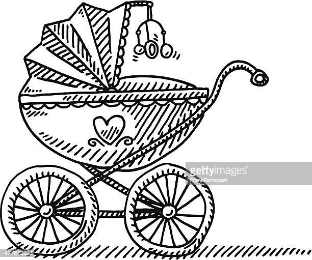 pram baby carriage drawing - baby carriage stock illustrations