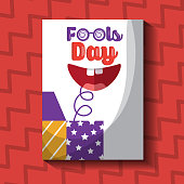 prank box with happy mouth fools day card