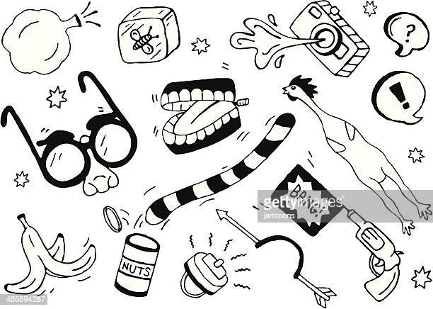 prank doodles - laughing stock illustrations, clip art, cartoons, & icons
