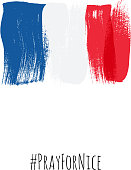 Pray for Nice hashtag with flag of France vector illustration.