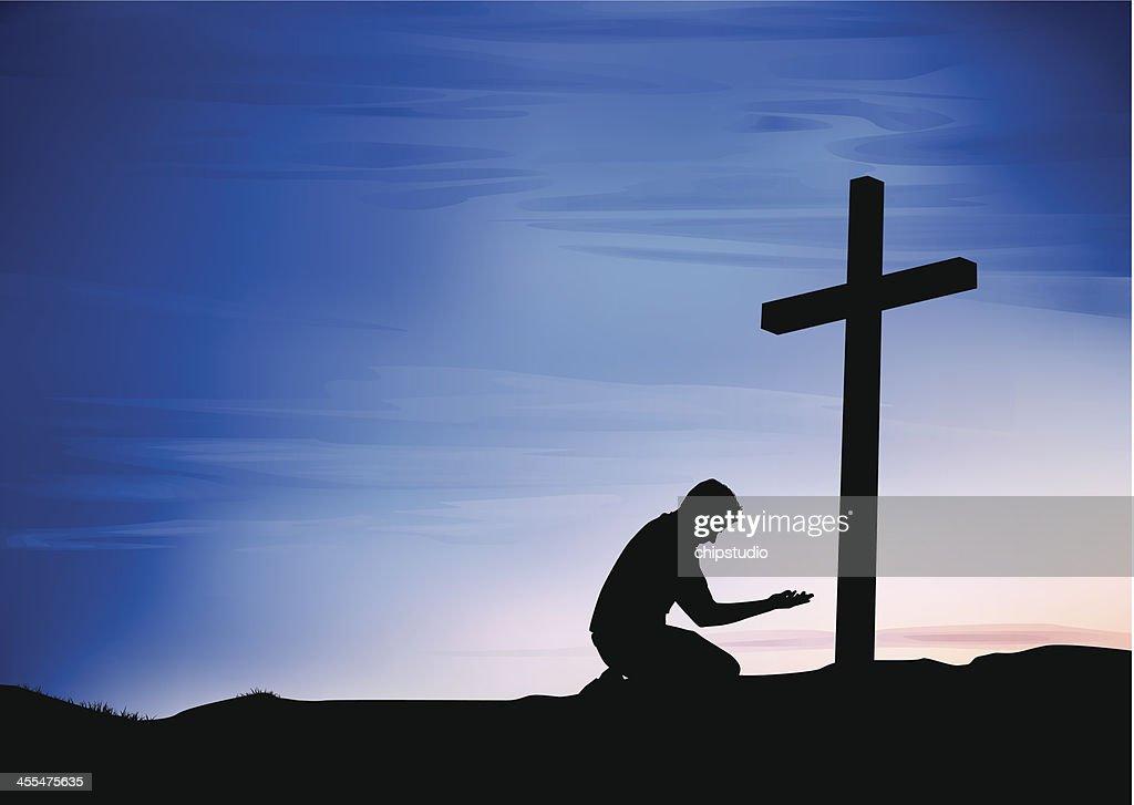 Prayer at the Cross : Vector Art