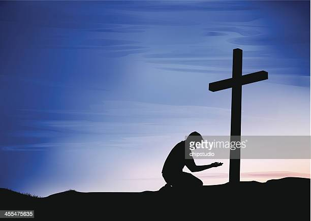 prayer at the cross - forgiveness stock illustrations, clip art, cartoons, & icons
