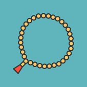 prayer beads 33 beads, known as well as tasbih or misbaha, muslim ornaments filled outline icon