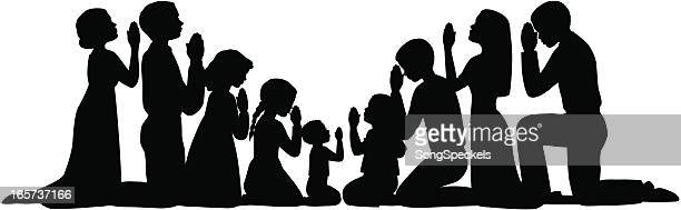 prayer group silhouettes - praying stock illustrations