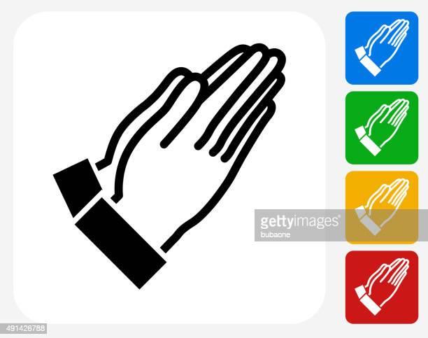 prayer icon flat graphic design - praying stock illustrations, clip art, cartoons, & icons