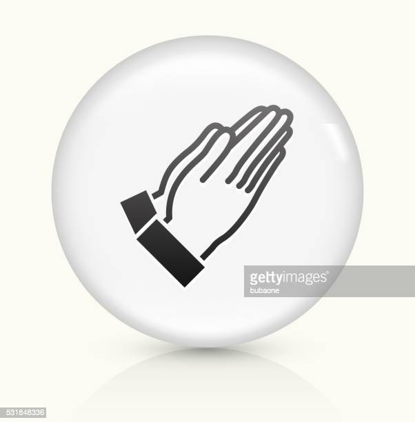 prayer icon on white round vector button - praying stock illustrations, clip art, cartoons, & icons