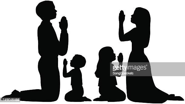 praying family silhouettes - praying stock illustrations, clip art, cartoons, & icons