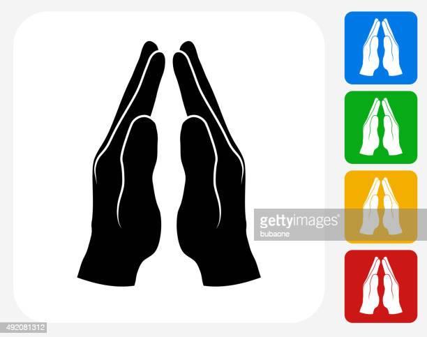 praying hands icon flat graphic design - praying stock illustrations, clip art, cartoons, & icons