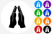 Praying Hands Icon on Flat Color Circle Buttons