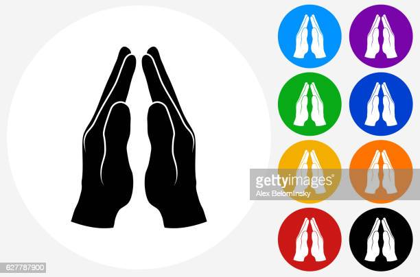 praying hands icon on flat color circle buttons - praying stock illustrations, clip art, cartoons, & icons