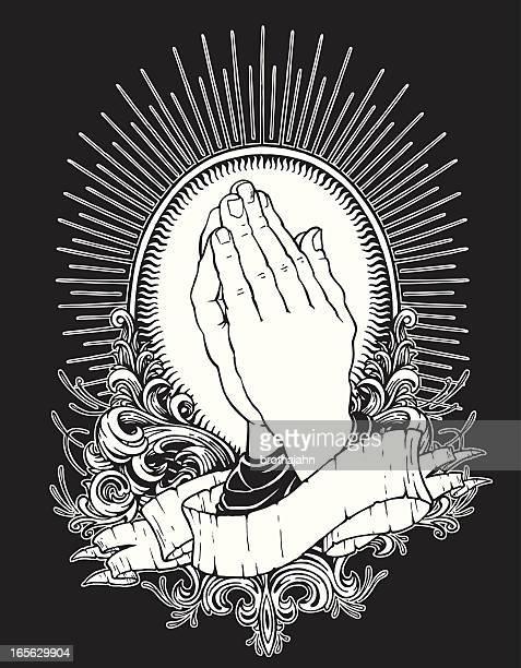 praying hands - praying stock illustrations, clip art, cartoons, & icons