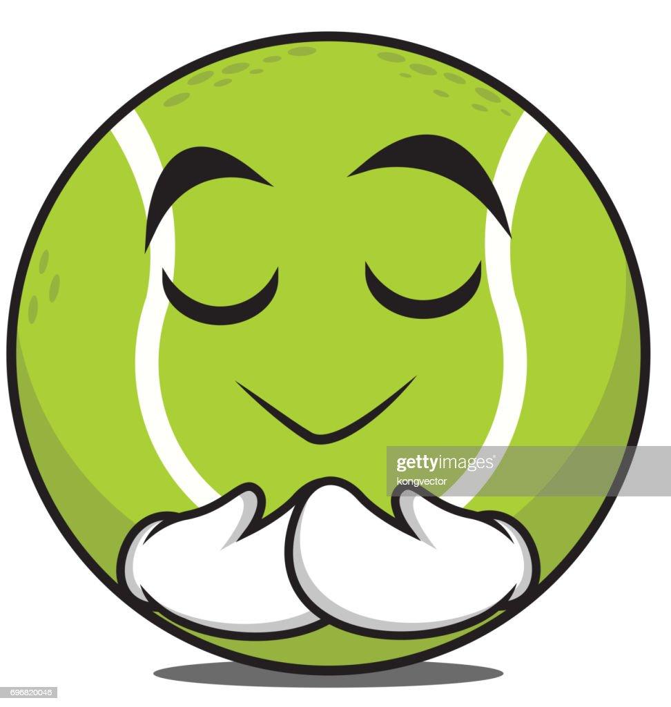 Praying tennis ball character cartoon vector illustration