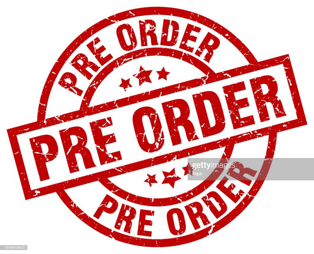 pre order round red grunge stamp