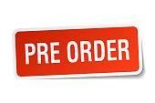pre order square sticker on white