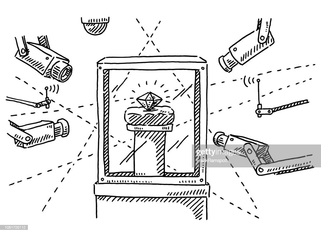 Kostbaren Diamanten Überwachungskameras Zeichnung : Vektorgrafik