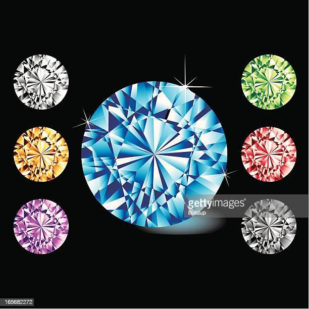 な円形ジェムズ - 菱型点のイラスト素材/クリップアート素材/マンガ素材/アイコン素材