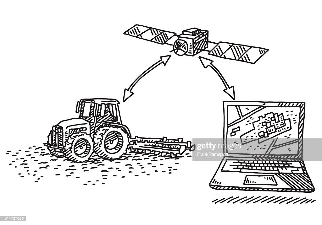 Precision Agriculture Concept Drawing