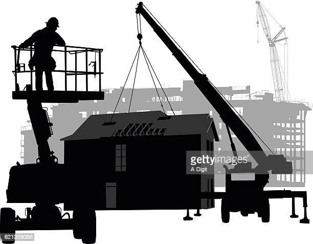 prefabricated house construction - steel cable stock illustrations, clip art, cartoons, & icons