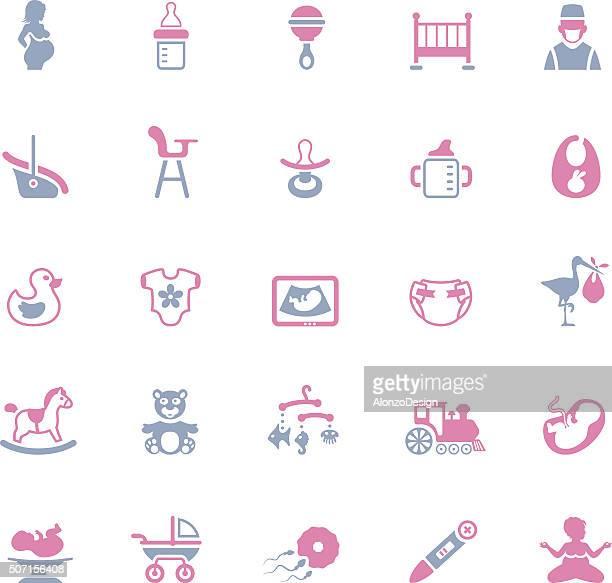 ilustraciones, imágenes clip art, dibujos animados e iconos de stock de embarazo y bebé iconos - lactancia materna