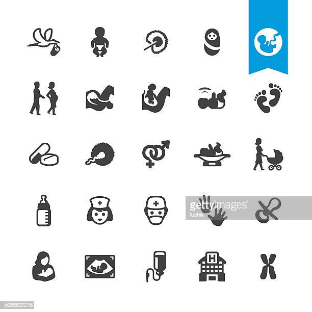 pregnancy and childbirth related vector icons - childbirth stock illustrations