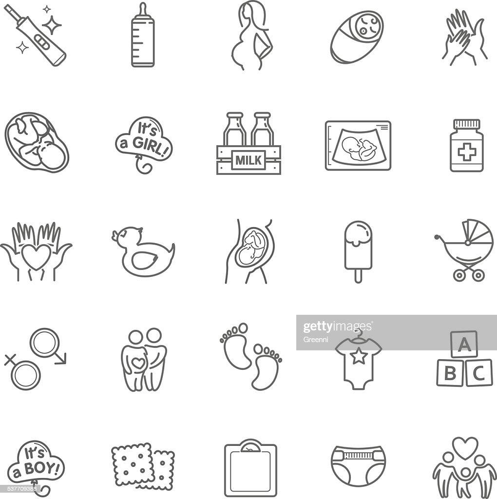Pregnancy and motherhood vector icons set. Newborn, child care