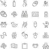 Pregnancy and motherhood vector icons set. Newborn, child care
