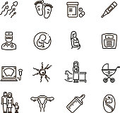 Pregnancy and newborn child line vector icons. Motherhood and infant baby pictograms