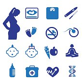 Pregnancy and newborn icons set
