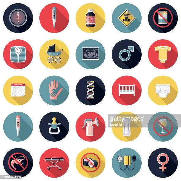pregnancy & childbirth icon set - breast pump stock illustrations