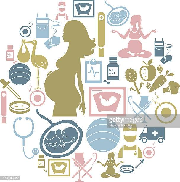 pregnancy icon set - artificial insemination stock illustrations