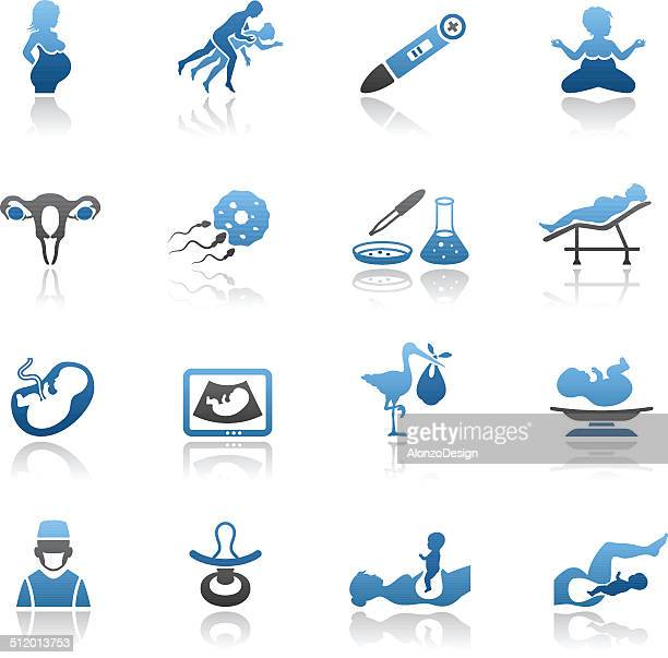 pregnancy icon set - gynecological examination stock illustrations, clip art, cartoons, & icons