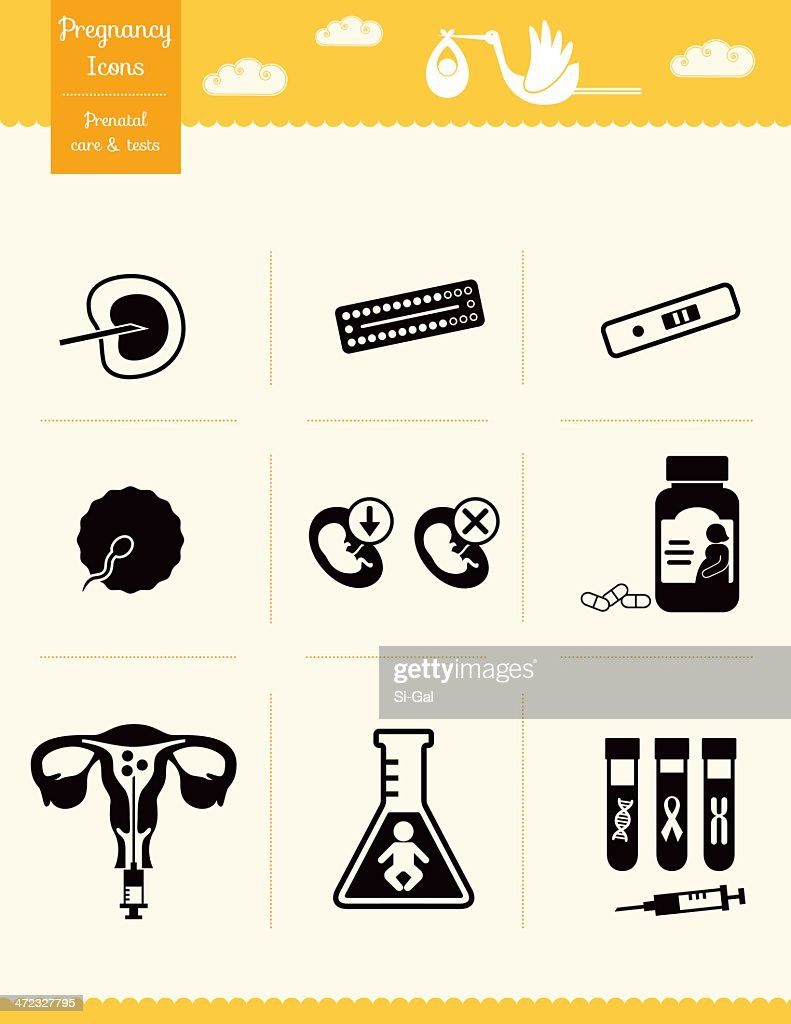 Pregnancy Icons - Prenatal care and tests : stock illustration