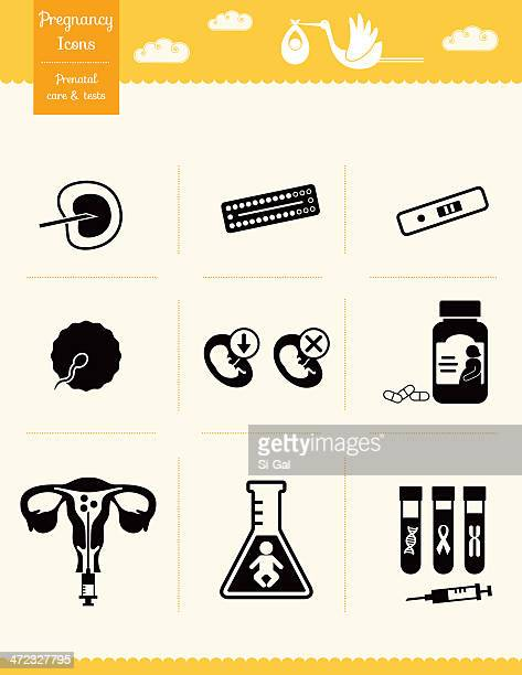 pregnancy icons - prenatal care and tests - artificial insemination stock illustrations