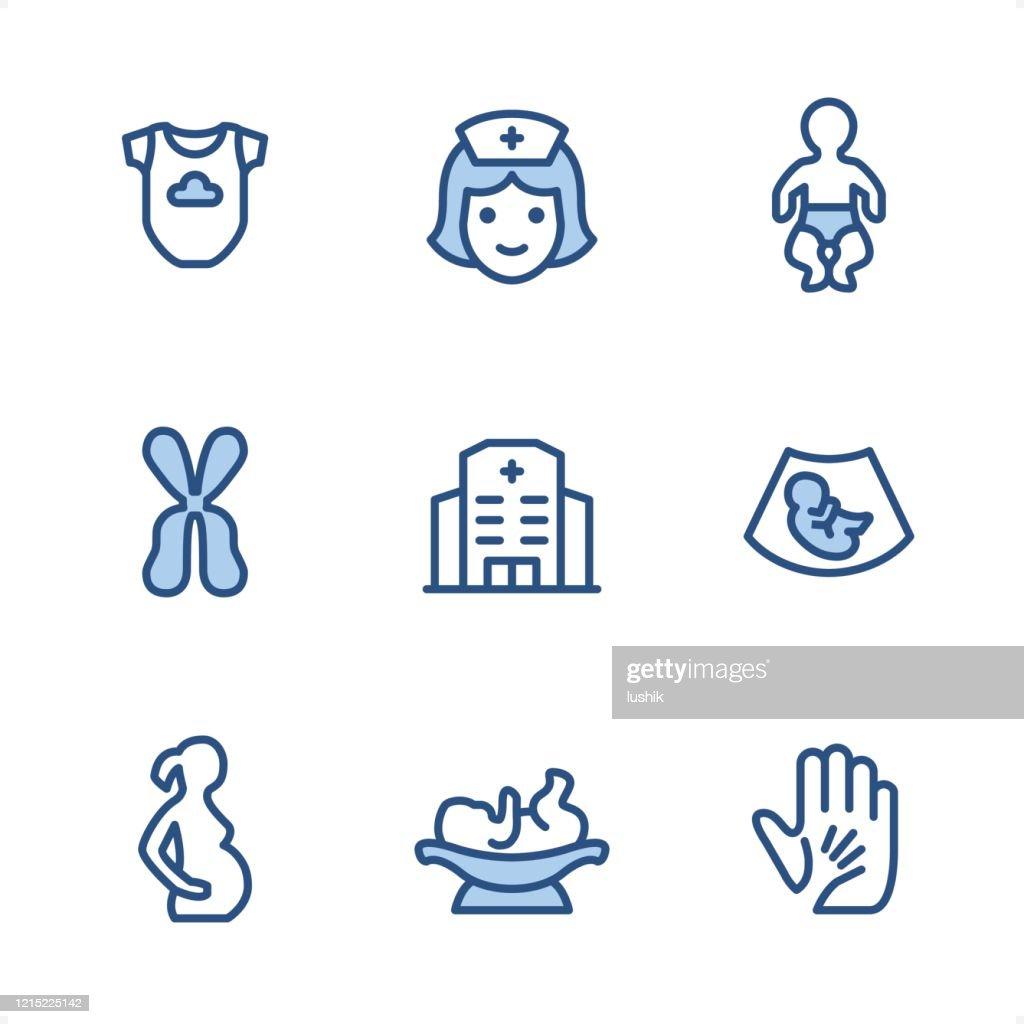 妊娠 - ピクセルパーフェクトブルーのアイコン : ストックイラストレーション