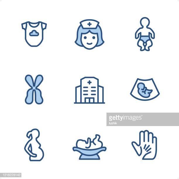 妊娠 - ピクセルパーフェクトブルーのアイコン - 小児科医点のイラスト素材/クリップアート素材/マンガ素材/アイコン素材