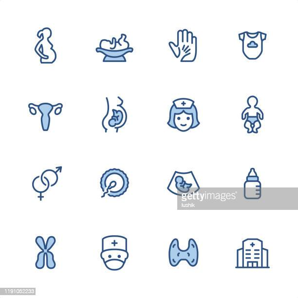 pregnancy - pixel perfect blue outline icons - artificial insemination stock illustrations