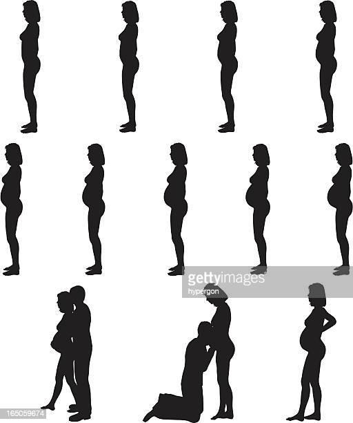 Schwangerschaft Silhouette Kollektion (Vektor-raster