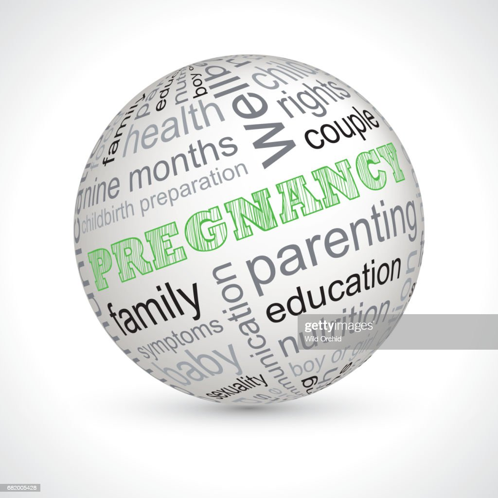 Pregnancy theme sphere with keywords